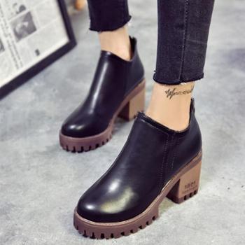 欧美2016新款短靴女秋冬单靴短筒英伦风女马丁靴粗跟复古高跟女鞋