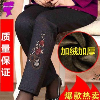 中老年人女装冬装棉裤妈妈装加绒加厚女裤保暖棉衣外套打底裤长裤