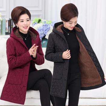 中老年女装棉服大码妈妈装秋冬棉衣女中长款加绒加厚冬季棉袄外套
