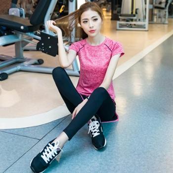 阿妮丝瑜伽服套装春夏健身服女套装显瘦健身房跑步服运动套装女