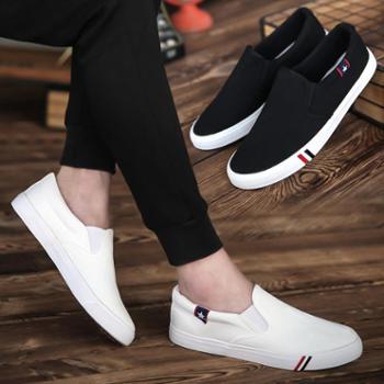 新款男士帆布鞋韩版潮流男鞋板鞋布鞋一脚蹬懒人休闲鞋潮