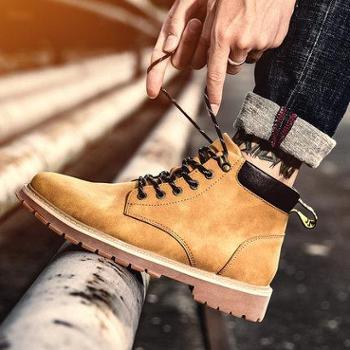 马丁靴男高帮秋冬季潮流百搭中帮男士大黄工装鞋子情侣雪地短靴子