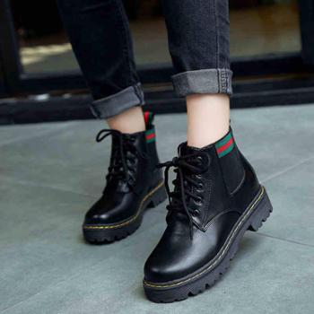 秋冬新款厚底中跟防滑女鞋短靴百搭马丁靴学生女靴子裸靴棉靴