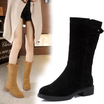金特百丽中筒靴女秋冬真皮粗跟马丁靴舒适单靴保暖平底女靴棉靴