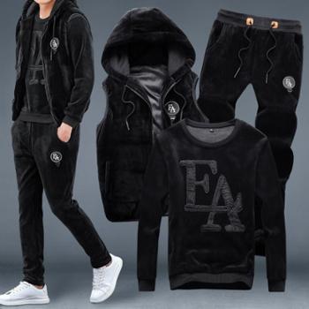 冬季新款金丝绒套装男卫衣加绒加厚三件套休闲跑步运动套装男
