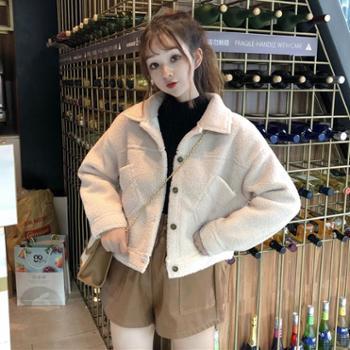 新款秋冬女装韩版BF风宽松仿羊羔毛棉衣短款学生开衫棉服外套