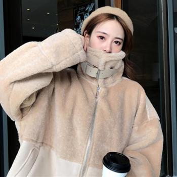 新款冬季女装韩版宽松仿羊羔毛皮毛一体加厚保暖棉衣棉服外套