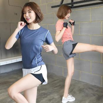运动套装女新款时尚瑜伽服休闲晨跑步短裤短袖健身房速干两件套