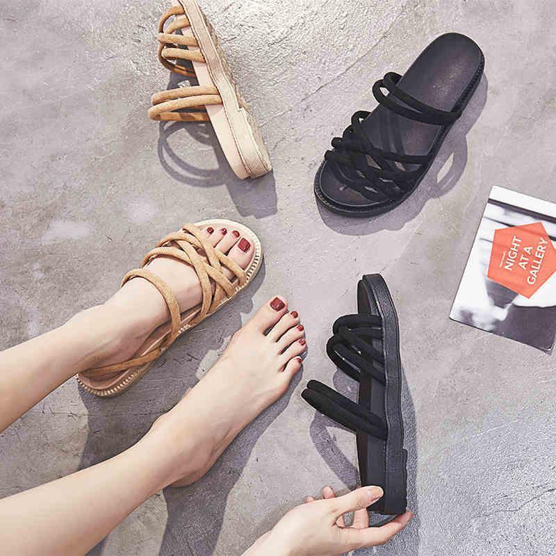 两穿罗马鞋女学生时尚夏女罗马风平底韩版百搭凉鞋女