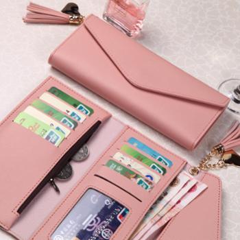 女士手拿钱包女式卡包新款日韩流苏吊坠小清新多功能学生钱夹