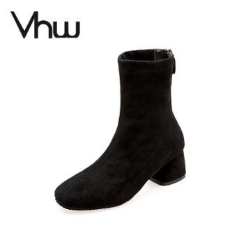 小短靴女秋冬韩版百搭瘦瘦靴粗跟中跟马丁靴方头短筒女靴