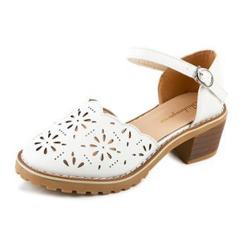 百搭镂空包头凉鞋女夏中跟粗跟圆头一字带韩版学生单鞋女鞋子