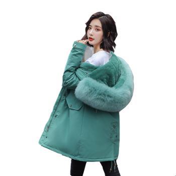 羽绒棉服女中长款冬季很仙的学生派克服外套