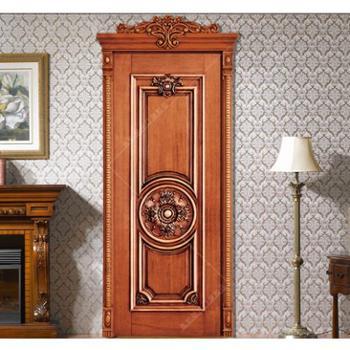 卓安木业雕花定制木门美式卧室门雕花实木门定做产品,上门测量