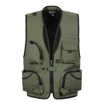 Aeroline 男式中年爸爸装大码户外休闲多口袋马甲