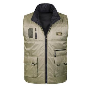 Aeroline冬季男式中老年爸爸装加厚户外休闲多口袋两面穿棉马甲