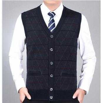 Aeroline秋冬季新款中老年爸爸装男式V领合身大气花色长袖常规款毛背心