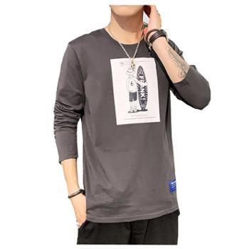 椰谷yegu秋季新款男潮牌圆领长袖t恤上衣卡通印花百搭修身打底学生潮