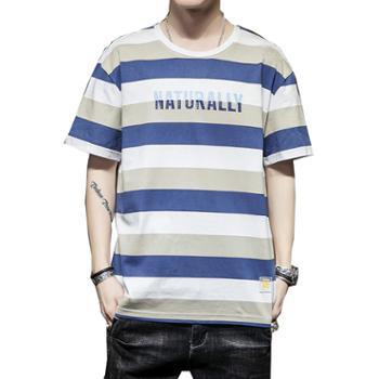 Aeroline夏季男士宽松时尚条纹舒适半袖T恤