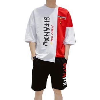 Aeroline夏季休闲圆领短袖T恤七分袖宽松男套装