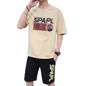 Aeroline夏季圆领宽松男士短袖T恤休闲五分裤运动套装