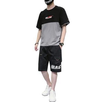 Aeroline夏季短袖t恤男士套装一套搭配帅气衣服