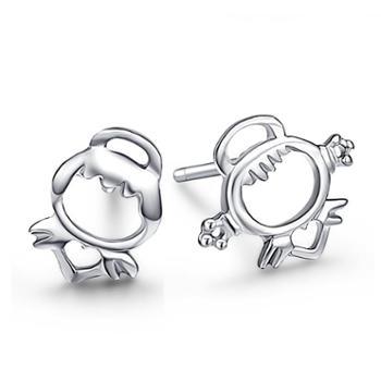 925银韩版天使娃娃耳钉女小清新耳饰可爱卡通耳环