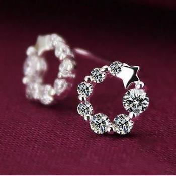 925银韩版幸运星气质耳环幸运星女款耳钉韩国时尚耳饰
