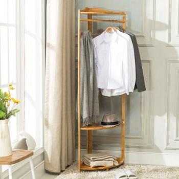 竹居士落地挂衣架客厅实木衣帽架卧室现代简约创意楠竹转角置物架