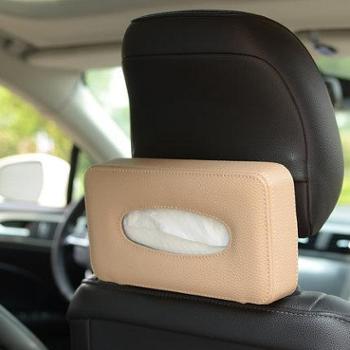 创意车用纸巾盒椅背挂式车载餐巾纸盒坐式皮革抽纸盒汽车内饰用品