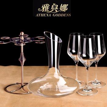 4/6只装水晶玻璃红酒杯套装+醒酒器杯架∣无铅高脚杯子葡萄酒杯波尔多