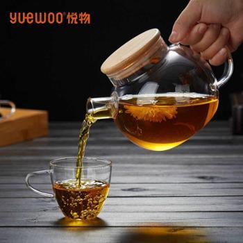 悦物木盖圆壶花茶壶冷水壶倒水壶带盖茶壶器皿大小容量水壶套装