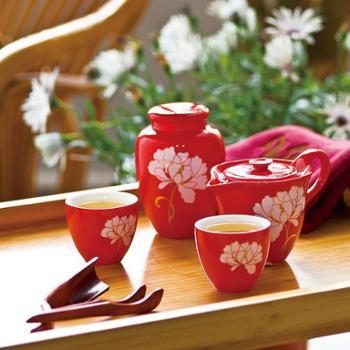 多样屋 牡丹功夫茶具礼品装 中国红TA210201038ZZ