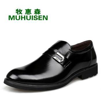 牧惠森英伦男士真皮商务正装皮鞋套脚鞋5222-2