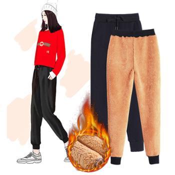 加绒加厚羊羔绒女裤秋冬女运动裤卫裤