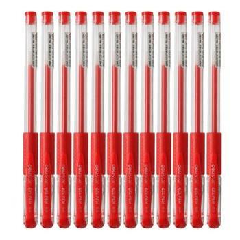 得力(deli) 6601 盒装0.5mm经济实用型中性笔 红色 12支/盒