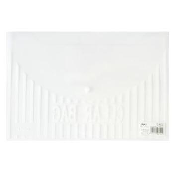 得力(deli)5502A4透明按扣公文袋白色10只装