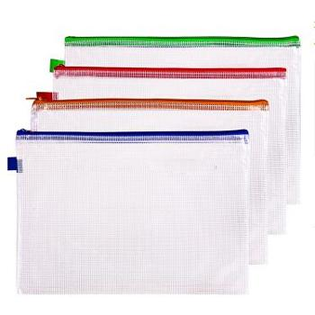 得力(deli)33182防水网格拉链袋资料袋文件袋A44个装
