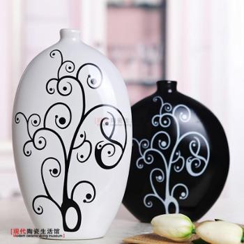 家居装饰品陶瓷花瓶现代时尚简约花插装饰摆件花器默然黑白花瓶