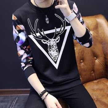 长袖T恤 男士秋季新款韩版修身潮流打底衫青年卫衣男装外套上衣服
