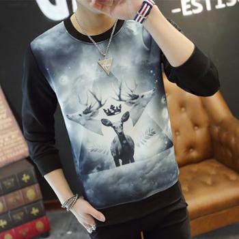 长袖T恤男士 秋季新款韩版修身潮流打底衫青年卫衣男装外套上衣服