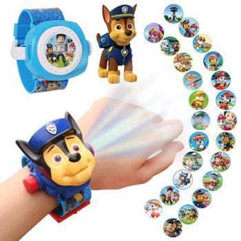汪汪队立大功玩具男女孩电子表奥特曼儿童卡通24图社会人投影手表