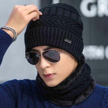 帽子男士冬季毛线帽加厚韩版潮针织套头帽加绒保暖冬天帽青年棉帽