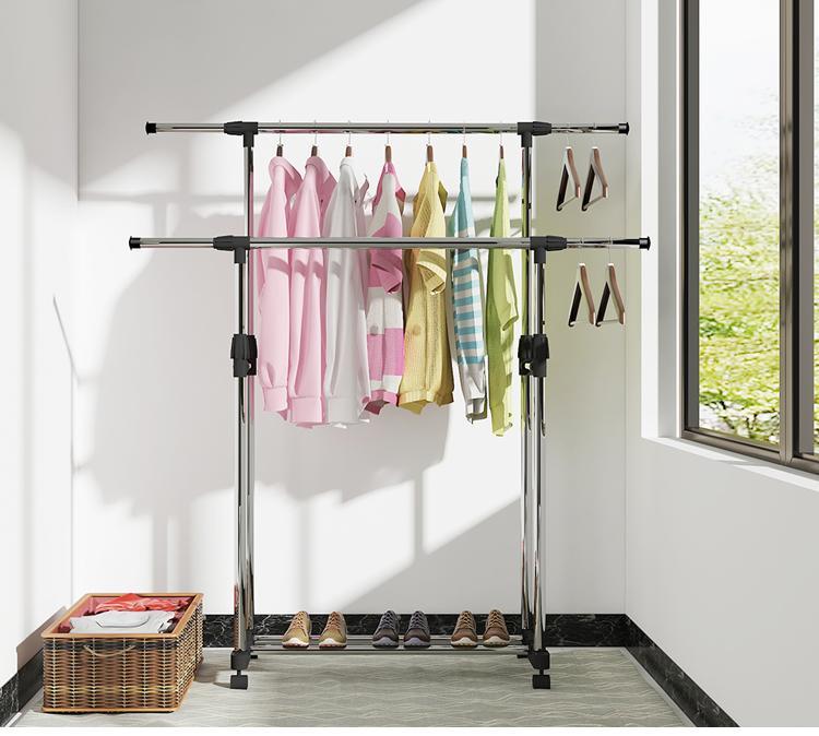 不锈钢挂衣服架落地折叠阳台伸缩晾晒杆双杆式室内简易升降晾衣架
