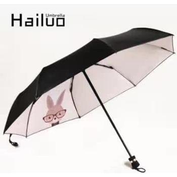 创意遮阳伞防晒伞三折叠太阳伞防晒防紫外线小黑伞晴雨伞两用男女