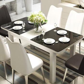餐桌餐桌椅组合伸缩餐桌钢化玻璃折叠简约大小户型餐台