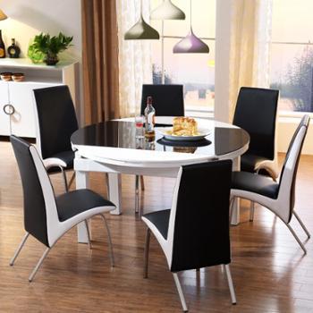 现代钢化玻璃餐桌桌椅组合钢化玻璃餐台伸缩饭桌FCZ0008