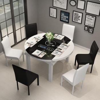 科莱斯克餐桌现代简约钢化玻璃餐桌小户型折叠伸缩圆餐桌椅组合1.35米一桌六椅(带电磁炉)