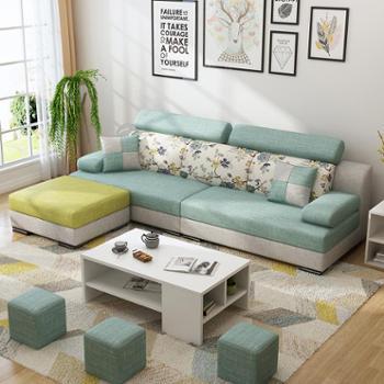沙发 布艺沙发 可拆洗 简约现代客厅小户型整装沙发组合家具转角三人布沙发