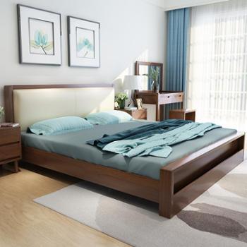 床实木床北欧现代高箱储物床1.5米1.8米仿真皮单人双人床卧室家具